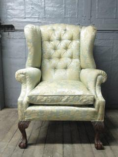 Pair of Chippendale Style Tufted Wingback Chairs - 1316499