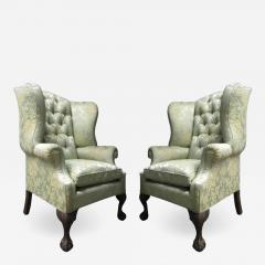 Pair of Chippendale Style Tufted Wingback Chairs - 1316863