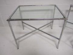 Pair of Chrome Faux Bamboo Chinoisiere Style Side Tables Hollywood Regency - 1862694