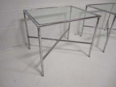 Pair of Chrome Faux Bamboo Chinoisiere Style Side Tables Hollywood Regency - 1862701