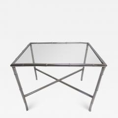 Pair of Chrome Faux Bamboo Chinoisiere Style Side Tables Hollywood Regency - 1865218