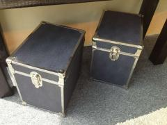 Pair of Chrome Faux Shagreen End Table Trunks - 80836