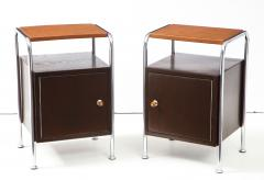 Pair of Chrome Leather Nightstands - 1454682