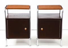 Pair of Chrome Leather Nightstands - 1454683