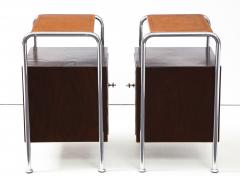Pair of Chrome Leather Nightstands - 1454689