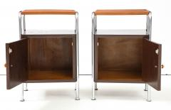 Pair of Chrome Leather Nightstands - 1454690