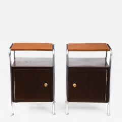 Pair of Chrome Leather Nightstands - 1456024