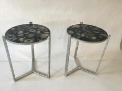 Pair of Circular Occasional Tables with Agate Tops - 669840