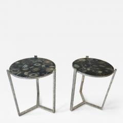 Pair of Circular Occasional Tables with Agate Tops - 672191