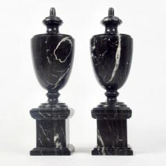 Pair of Classical Black Marble Urns - 2065646