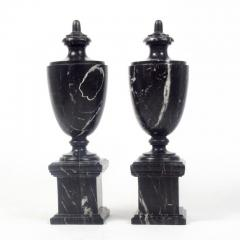 Pair of Classical Black Marble Urns - 2065647