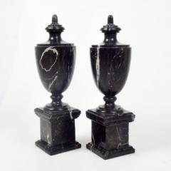 Pair of Classical Black Marble Urns - 2065648