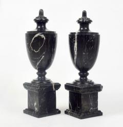 Pair of Classical Black Marble Urns - 2065649