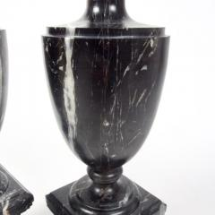Pair of Classical Black Marble Urns - 2065651