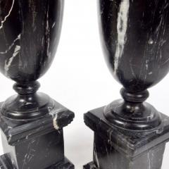 Pair of Classical Black Marble Urns - 2065653