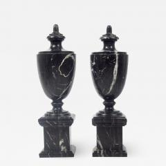 Pair of Classical Black Marble Urns - 2068823