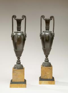 Pair of Classical Bronze Urns on Sienna Marble Bases - 759071