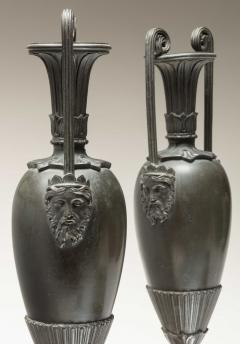 Pair of Classical Bronze Urns on Sienna Marble Bases - 759072