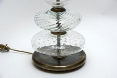 Pair of Clear and Swirled Murano Glass Table Lamps - 1174443