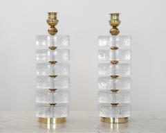 Pair of Column Seeded Glass Murano Lamps - 1681726