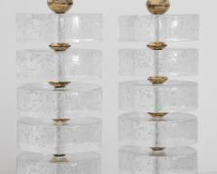 Pair of Column Seeded Glass Murano Lamps - 1681732