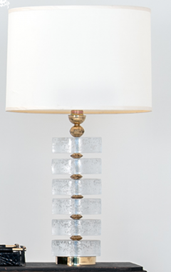 Pair of Column Seeded Glass Murano Lamps - 1681735