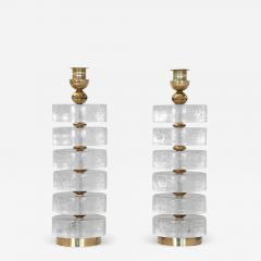 Pair of Column Seeded Glass Murano Lamps - 1682769
