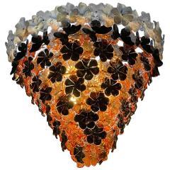 Pair of Contemporary Black and Orange Flower Stunning Murano Glass Chandelier - 1574636