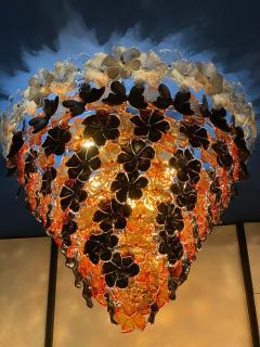 Pair of Contemporary Black and Orange Flower Stunning Murano Glass Chandelier - 1574642