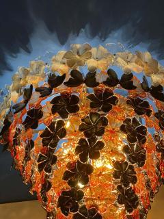 Pair of Contemporary Black and Orange Flower Stunning Murano Glass Chandelier - 1574648
