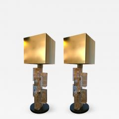 Pair of Contemporary Lamps Cubic Gold Powder Murano Glass Italy - 521071