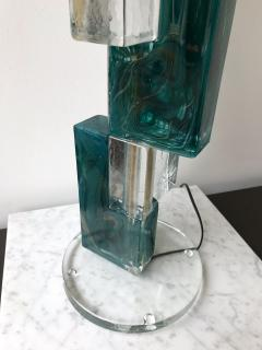 Pair of Contemporary Lamps Cubic Murano Glass and Brass - 825747