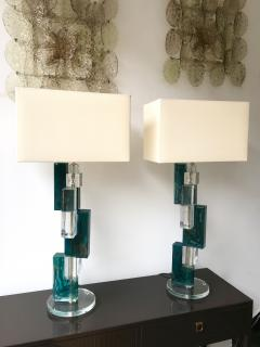 Pair of Contemporary Lamps Cubic Murano Glass and Brass - 825749