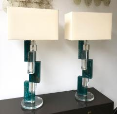 Pair of Contemporary Lamps Cubic Murano Glass and Brass - 825753