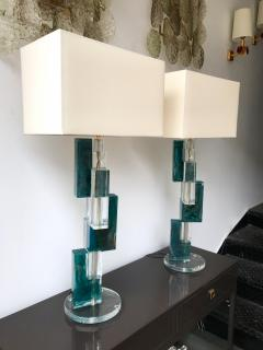 Pair of Contemporary Lamps Cubic Murano Glass and Brass - 825754