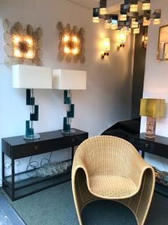Pair of Contemporary Lamps Cubic Murano Glass and Brass - 825755