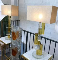 Pair of Contemporary Lamps Cubic Murano Glass and Brass - 825775