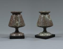 Pair of Cornish Serpentine Stone Urns of Unusual Form - 968479