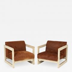 Pair of Cowhide Upholstered Club Chairs  - 1022391