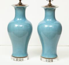 Pair of Crackle Glazed Blue Vase Lamps - 1312524