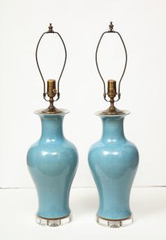 Pair of Crackle Glazed Blue Vase Lamps - 1312534