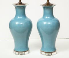 Pair of Crackle Glazed Blue Vase Lamps - 1312536