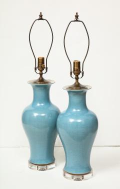 Pair of Crackle Glazed Blue Vase Lamps - 1312537
