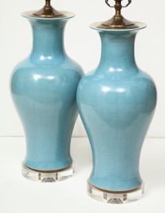 Pair of Crackle Glazed Blue Vase Lamps - 1312538