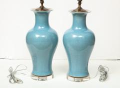 Pair of Crackle Glazed Blue Vase Lamps - 1312539