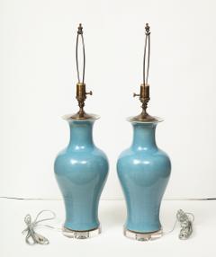 Pair of Crackle Glazed Blue Vase Lamps - 1312540