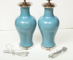 Pair of Crackle Glazed Blue Vase Lamps - 1312542