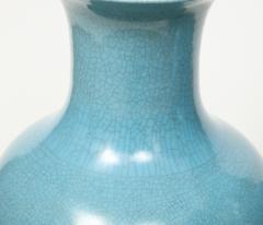 Pair of Crackle Glazed Blue Vase Lamps - 1312543