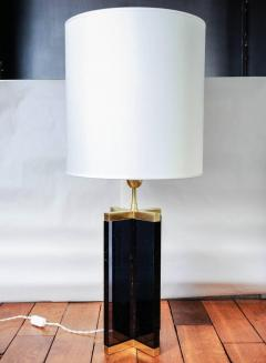 Pair of Cross Table Lamps in Dark Plexiglass and Brass - 714965