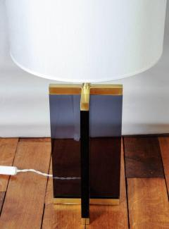 Pair of Cross Table Lamps in Dark Plexiglass and Brass - 714966